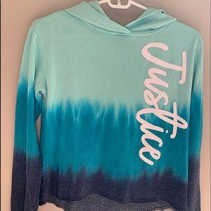 Girls blue crop top hoodie